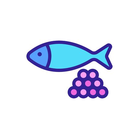 fish, caviar icon vector. Thin line sign. Isolated contour symbol illustration Vettoriali
