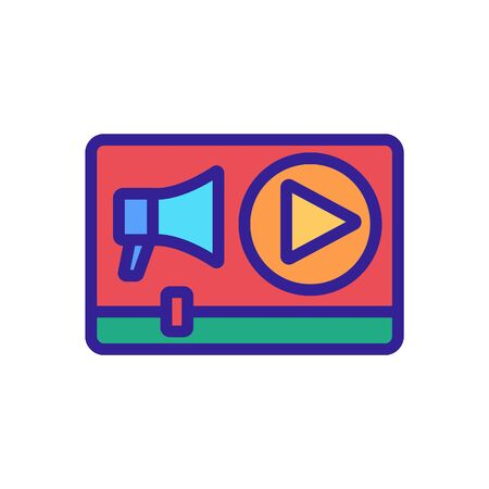 video, megaphone icon vector. Thin line sign. Isolated contour symbol illustration