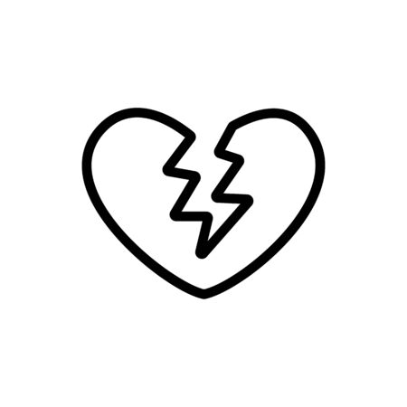 broken heart icon vector. Thin line sign. Isolated contour symbol illustration