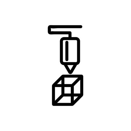 3D print printer icon vector. Thin line sign. Isolated contour symbol illustration Illustration