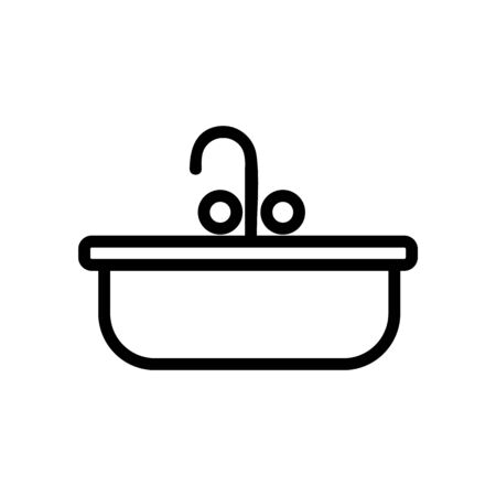 Sink icon vector. Thin line sign. Isolated contour symbol illustration