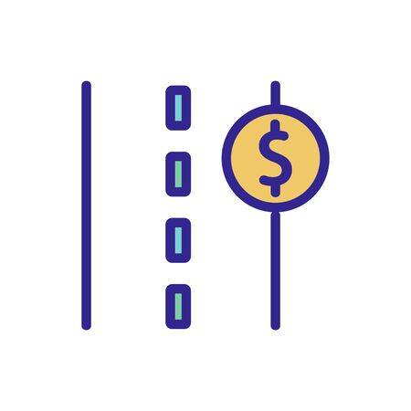 toll road icon Thin line sign. Isolated contour symbol illustration
