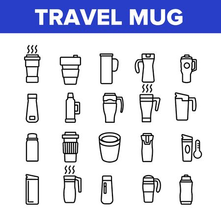 Travel Mug Hot Drink Collection Icons Set Vector. Coffee And Tea Travel Mug, Thermo Cup And Bottle With Morning Beverage Concept Linear Pictograms. Monochrome Contour Illustrations Vektoros illusztráció
