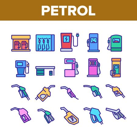 Petrol Station Tool Collection Icons Set Vector. Automobile Petrol Fuel Service Equipment And Nozzle, Gas, Diesel And Electricity Concept Linear Pictograms. Color Contour Illustrations Vecteurs