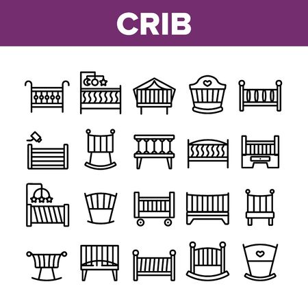 Crib Baby Infant Bed Collection Icons Set Vector. Wooden Crib With Hanging Toys, Heart Shape Mark, Comfortable Mattress For Newborn Child Concept Linear Pictograms. Monochrome Contour Illustrations