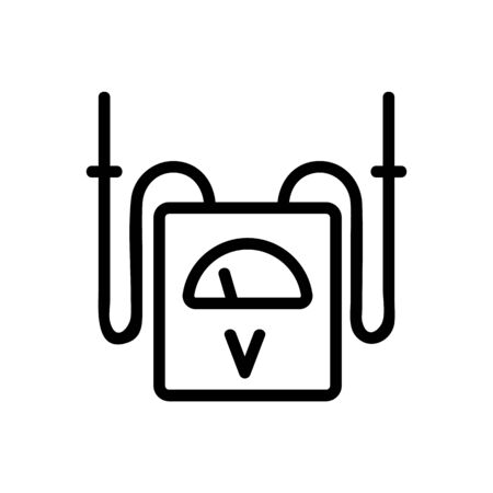 Voltmeter icon vector. Thin line sign. Isolated contour symbol illustration