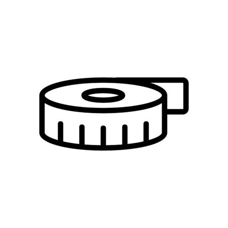 Tape measuring icon vector. Thin line sign. Isolated contour symbol illustration