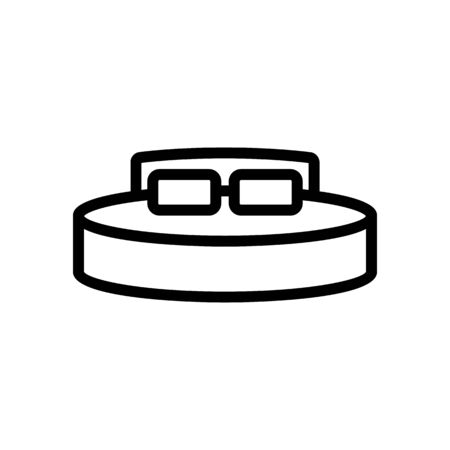 A comfortable bed icon vector. Thin line sign. Isolated contour symbol illustration 向量圖像