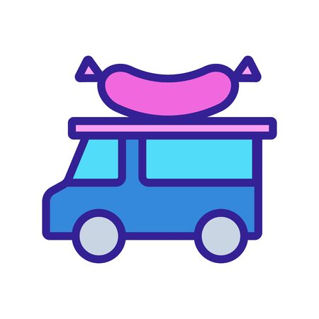 Food truck Icon vector. Thin line sign. Isolated contour symbol illustration  イラスト・ベクター素材