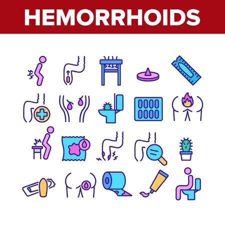 Hemorrhoids Disease Collection Icons Set Vector. Hemorrhoids Ache And Pain, Inflammation And Treatment Pills, Paper Roll And Cream Concept Linear Pictograms. Color Contour Illustrations