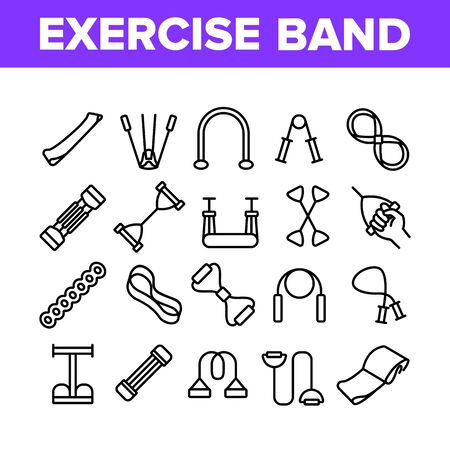 Exercise Band Tools Collection Icons Set Vector. Resistance And Stretchable Belt, Athletic Expander Exercise Band Sport Equipment Concept Linear Pictograms. Monochrome Contour Illustrations