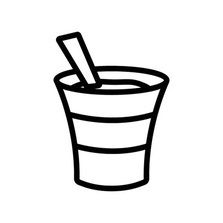 the yogurt in the Cup icon vector. the yogurt in the Cup sign. isolated contour symbol illustration