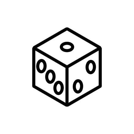 cube playing icon vector. cube playing sign. isolated contour symbol illustration