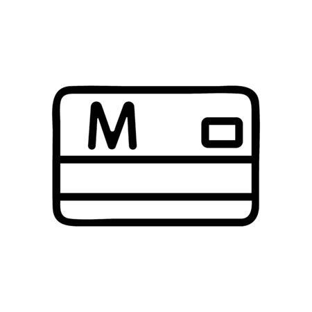 metro card ticket icon vector. metro card ticket sign. isolated contour symbol illustration