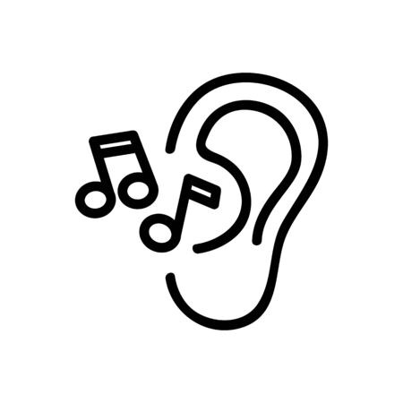 the ear hears music icon vector. the ear hears music sign. isolated contour symbol illustration