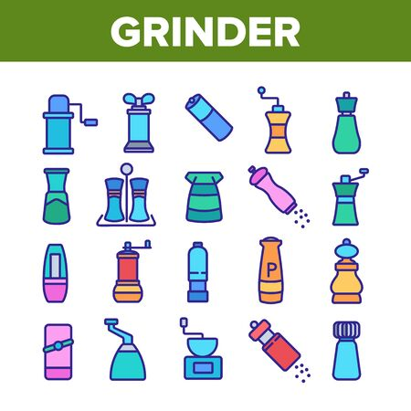 Grinder Pepper Salt Collection Icons Set Vector. Coffee Grinder Tool, Kitchen Utensil Or Restaurant Equipment For Spice, Flavor Kitchenware Concept Linear Pictograms. Color Illustrations