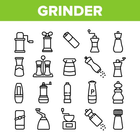 Grinder Pepper Salt Collection Icons Set Vector. Coffee Grinder Tool, Kitchen Utensil Or Restaurant Equipment For Spice, Flavor Kitchenware Concept Linear Pictograms. Monochrome Contour Illustrations