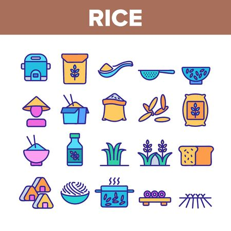 Rice Chinese Culture Collection Icons Set Vector. Rice Bread And Boiling Dish, Harvest Bag And Plant, Slow Cooker And Sushi Concept Linear Pictograms. Color Illustrations 向量圖像