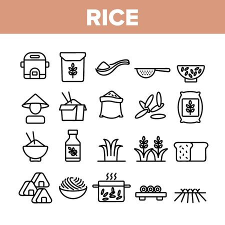 Rice Chinese Culture Collection Icons Set Vector. Rice Bread And Boiling Dish, Harvest Bag And Plant, Slow Cooker And Sushi Concept Linear Pictograms. Monochrome Contour Illustrations