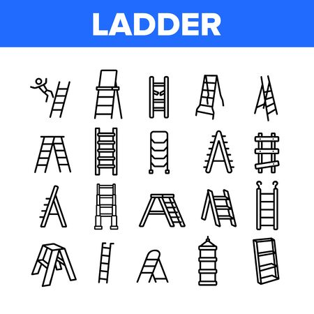 Ladder And Staircase Collection Icons Set Vector. Tall And Low, Wooden And Metallic Ladder, Human Falling Down From Equipment Concept Linear Pictograms. Monochrome Contour Illustrations