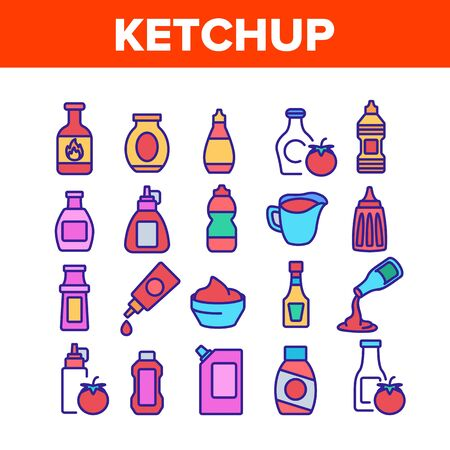Ketchup Tomato Sauce Collection Icons Set Vector. Spicy And Classical Ketchup, Package And Bottle, Grocery Natural Food Container Concept Linear Pictograms. Color Illustrations