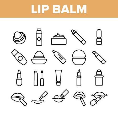 Lip Balm Cosmetic Collection Icons Set Vector. Lip Balm Package And Containers, Tube And Lipstick Fashion Beauty Accessory Concept Linear Pictograms. Monochrome Contour Illustrations