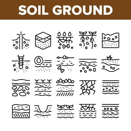 Soil Ground Research Collection Icons Set Vector. Soil Ground With Old Bone And Geyser, Drilling And Watering, Fertile And Desert Concept Linear Pictograms. Monochrome Contour Illustrations Ilustração Vetorial