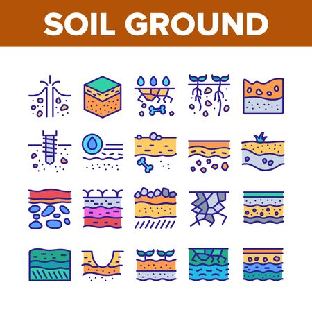 Soil Ground Research Collection Icons Set Vector. Soil Ground With Old Bone And Geyser, Drilling And Watering, Fertile And Desert Concept Linear Pictograms. Color Illustrations
