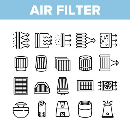 Air Filter And Airflow Collection Icons Set Vector. Car And Conditioner Air Filter Equipment, Domestic Device For Filtration Concept Linear Pictograms. Monochrome Contour Illustrations Vektoros illusztráció