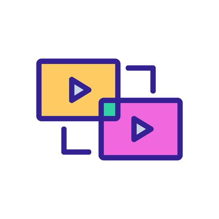 gluing video icon vector. gluing video sign. color isolated symbol illustration