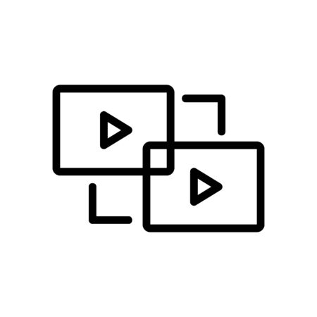 gluing video icon vector. gluing video sign. isolated contour symbol illustration