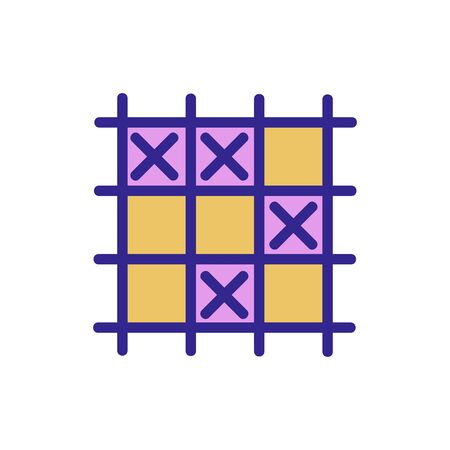 game TIC TAC toe icon vector. game TIC TAC toe sign. color isolated symbol illustration Çizim