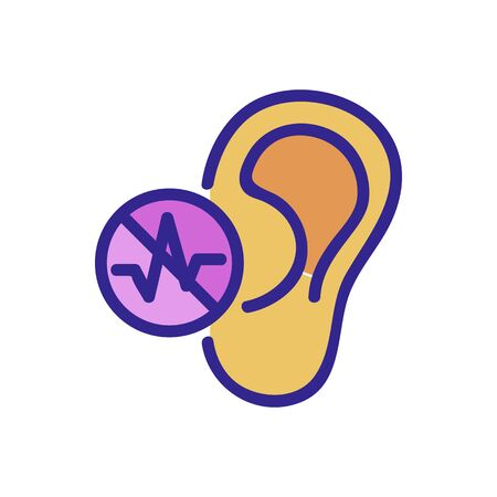 the ear does not hear icon vector. the ear does not hear sign. color isolated symbol illustration