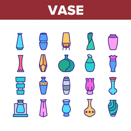 Vase Flowers Decorative Dishware Icons Set Vector. Antique And Modern Vase In Different Form, Accessory For Aromatic Plant Concept Linear Pictograms. Color Contour Illustrations