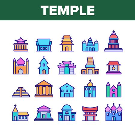 Temple Architecture Building Icons Set Vector. Religion Collection Nation Temple Building, Catholic And Christian Church, Islamic And Buddhism Linear Pictograms. Color Contour Illustrations 矢量图像
