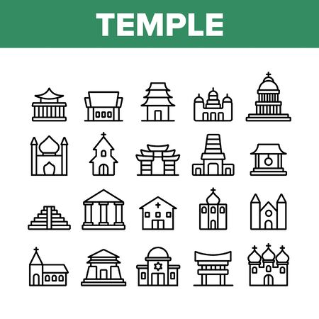 Temple Architecture Building Icons Set Vector. Religion Collection Nation Temple Building, Catholic And Christian Church, Islamic And Buddhism Linear Pictograms. Monochrome Contour Illustrations