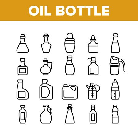 Oil Bottle Package Collection Icons Set Vector. Oil Bottle With Pump And Measuring Scale, Amphora And Classical Form Container Concept Linear Pictograms. Monochrome Contour Illustrations