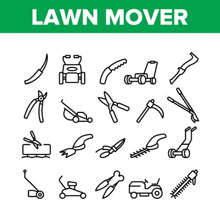Lawn Mover Equipment Collection Icons Set Vector. Garden Scissors And Electronic Device For Cutting, Lawn Mover And Manual Cutter Concept Linear Pictograms. Monochrome Contour Illustrations