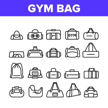 Gym Bag Accessory Collection Icons Set Vector Gym Bag For Sportive Suit And Shoes, Handbag For Fitness Sport Activity Clothes. Concept Linear Pictograms. Monochrome Contour Illustrations 向量圖像