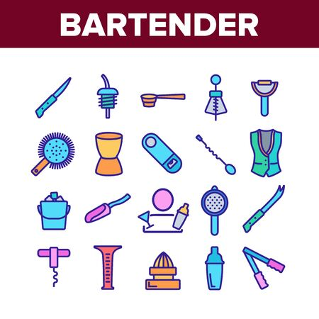 Bartender Equipment Collection Icons Set Vector. Bartender Shaker And Bucket With Ice, Opener And Corkscrew, Juicer And Spoon Concept Linear Pictograms. Color Contour Illustrations