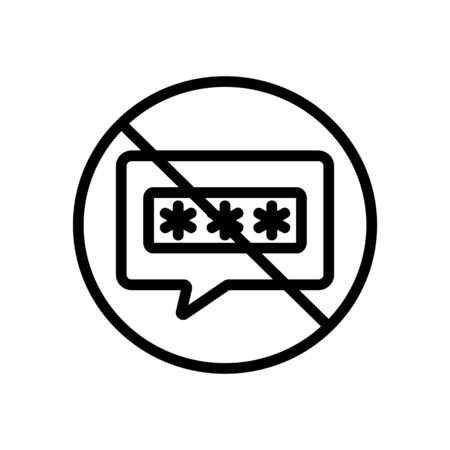 the password is forbidden icon vector. the password is forbidden sign. isolated contour symbol illustration