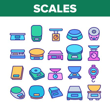 Scales Measuring Tool Collection Icons Set Vector. Domestic Kitchen Scales, Mechanical And Electronic Measurement Equipment For Weigh Concept Linear Pictograms. Color Illustrations