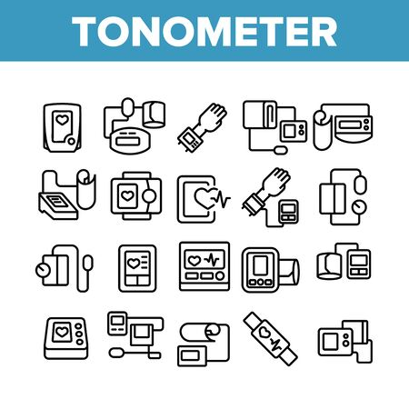 Tonometer Equipment Collection Icons Set Vector. Tonometer Medical Device For Measuring Blood Pressure, Mechanical And Electronic Tool Concept Linear Pictograms. Monochrome Contour Illustrations