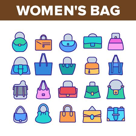 Women Bag Accessory Collection Icons Set Vector. Fashion Women Bag Baguette And Bucket, Duffel And Hobo, Saddle And Shopper Concept Linear Pictograms. Color Illustrations