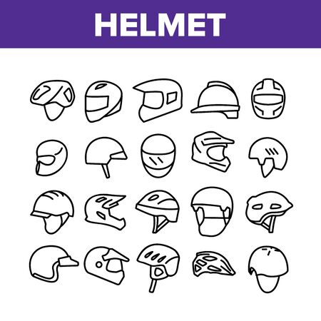 Helmet Rider Accessory Collection Icons Set Vector. Helmet Head Protection For Biker, Motorcyclist And Cyclist In Different Design Concept Linear Pictograms. Monochrome Contour Illustrations