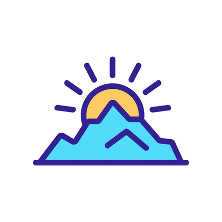 sunset mountains icon vector. sunset mountains sign. color contour symbol illustration