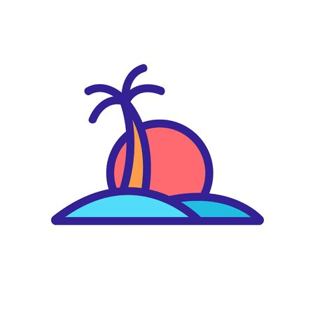 sunset island palm icon vector. sunset island palm sign. color contour symbol illustration 向量圖像