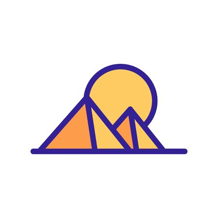 sunset pyramid icon vector. sunset pyramid sign. color contour symbol illustration