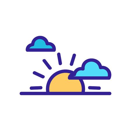 sunset clouds icon vector. sunset clouds sign. color contour symbol illustration