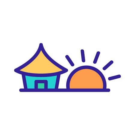 sunset house icon vector. sunset house sign. color contour symbol illustration 向量圖像